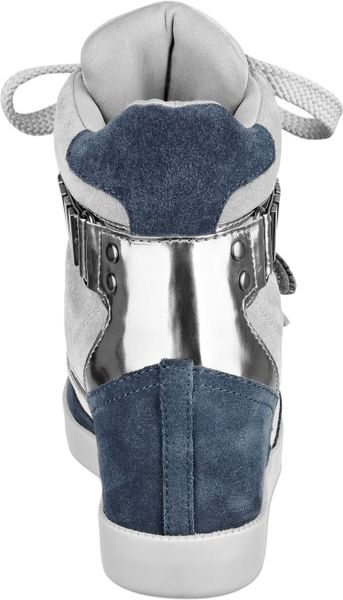 Guess Womens Shoes Trevian Wedge Sneakers in Gray (Blue/Grey