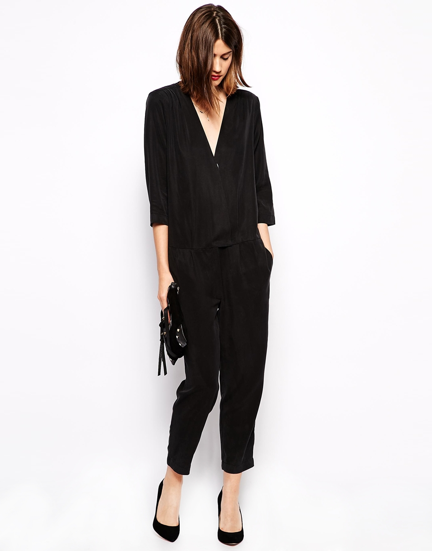 c7a58d5cb066 Lyst - Ganni Jumpsuit With V-Neck in Black