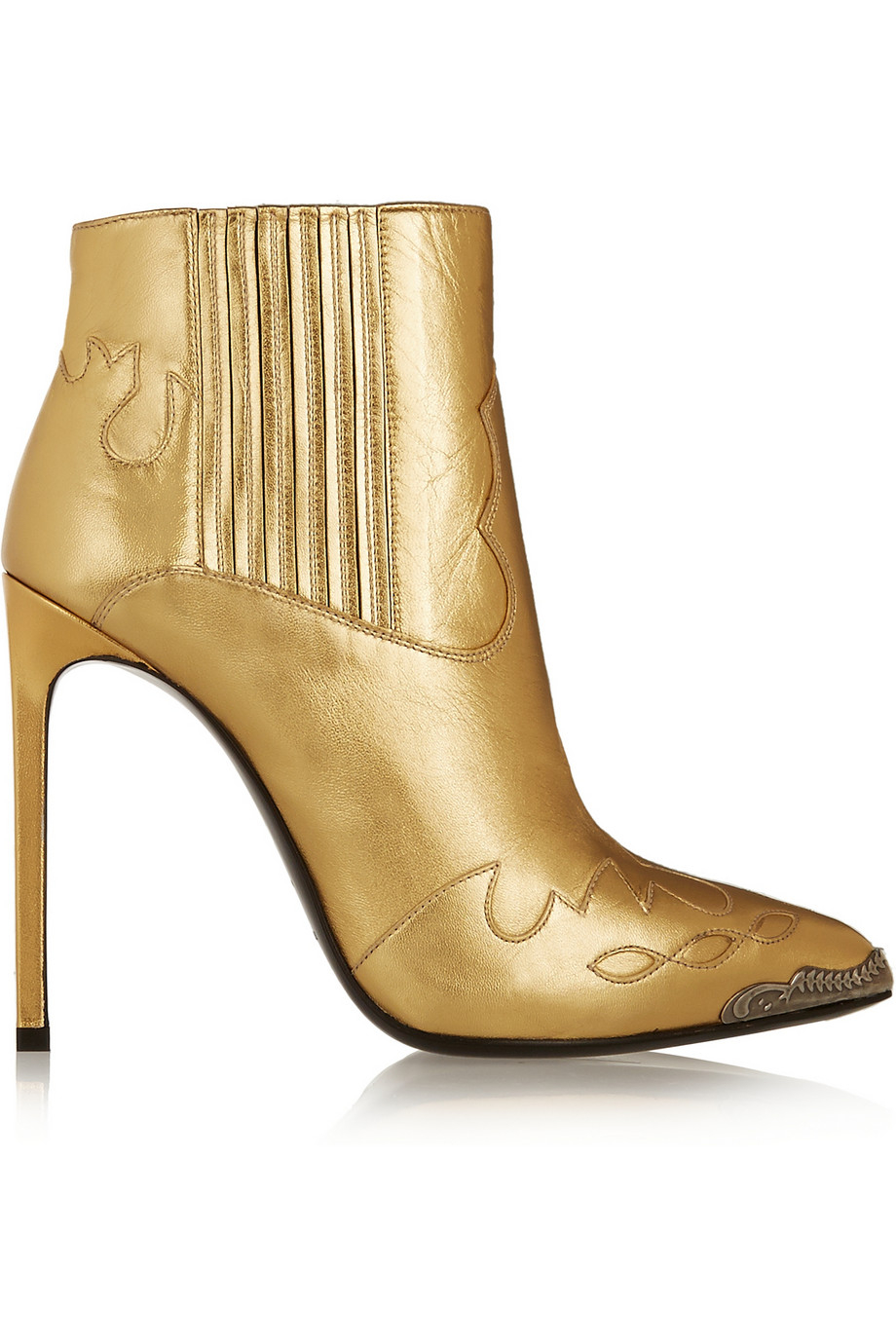 Metallic Leather Boots : Lyst saint laurent paris metallic leather ankle boots in