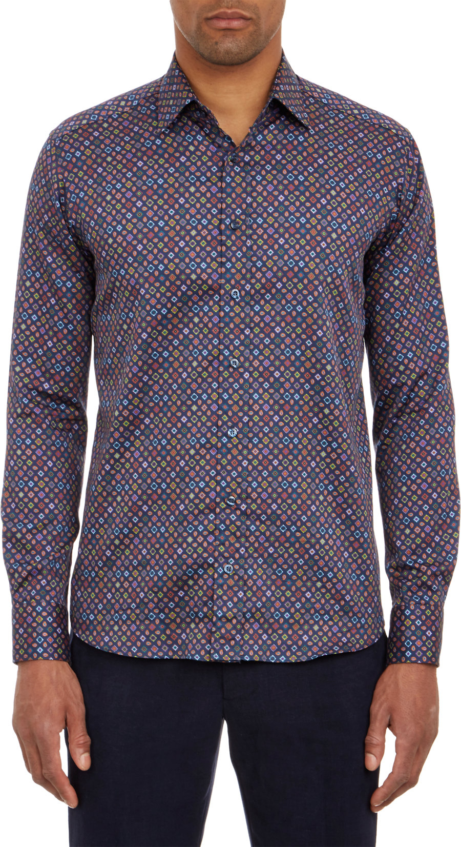 Lyst etro micro pattern shirt in blue for men for Etro men s shirts