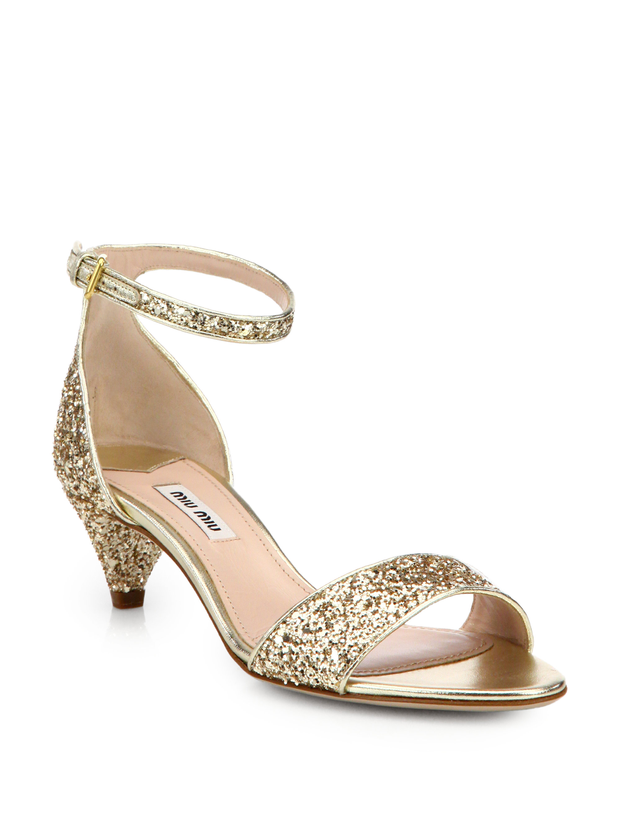 Miu miu Jeweled Glitter Kitten-Heeled Sandals in Metallic | Lyst