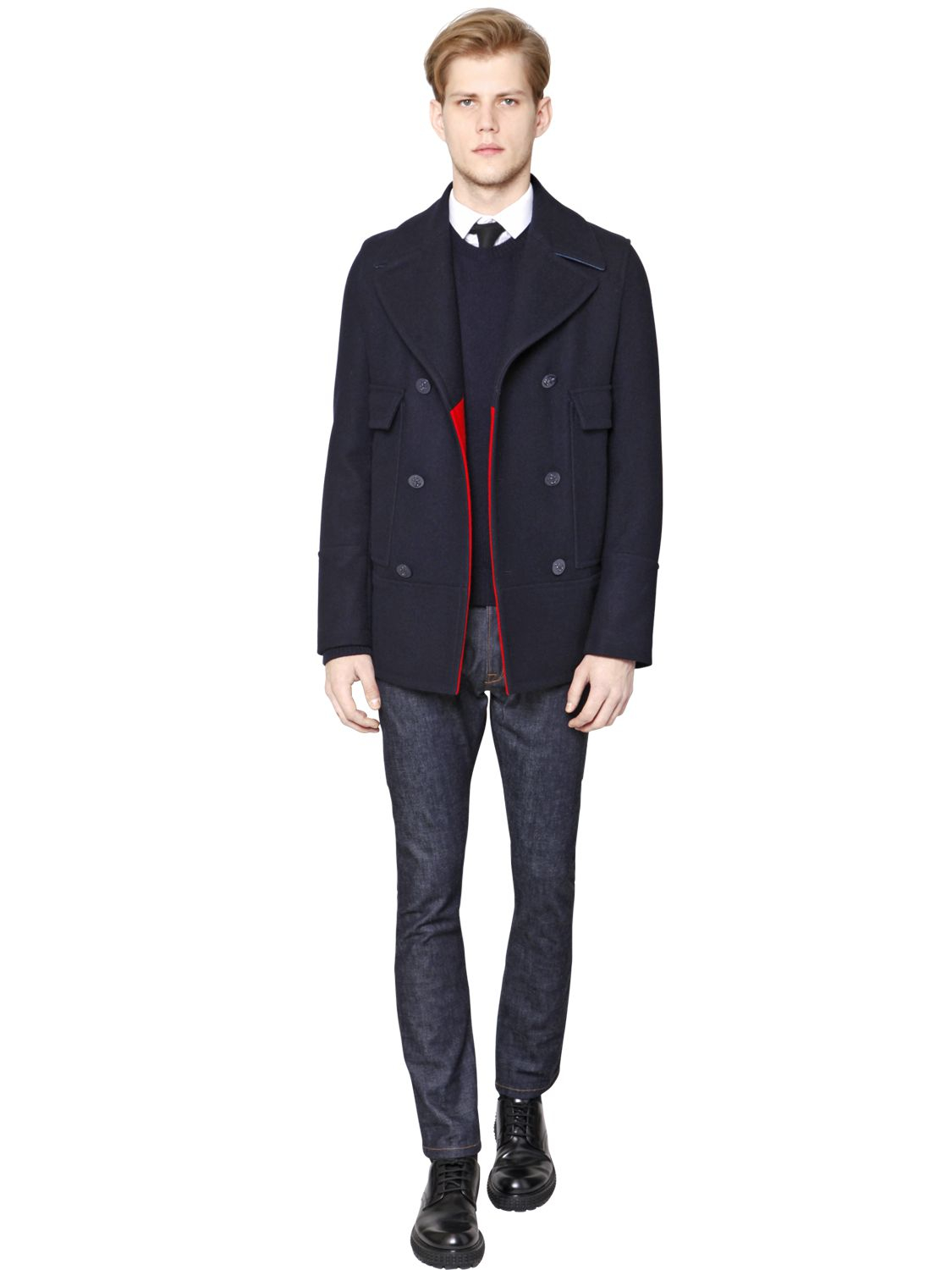 Valentino English Wool Peacoat in Blue for Men | Lyst