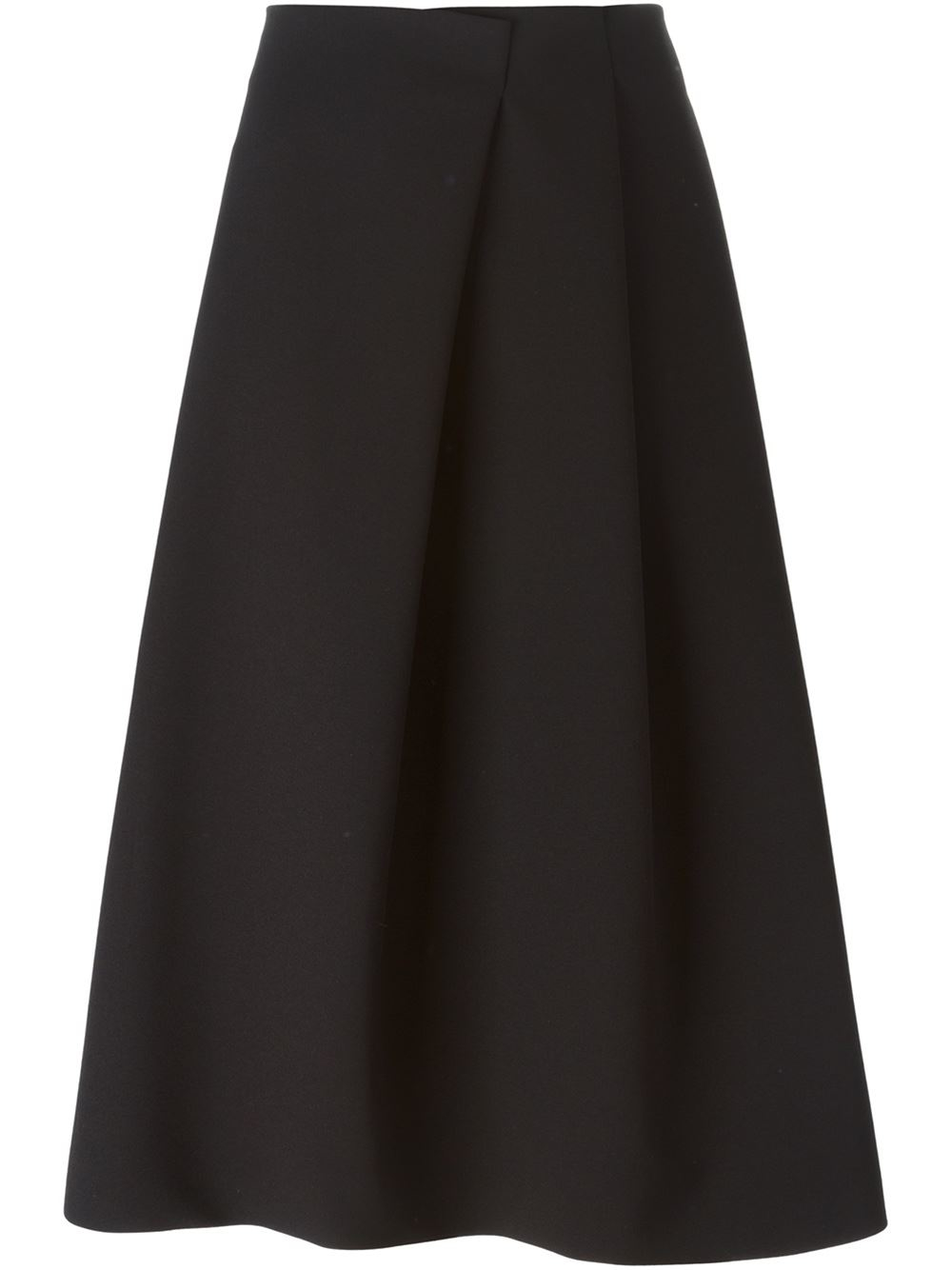 Jil sander A-line Midi Skirt in Black | Lyst