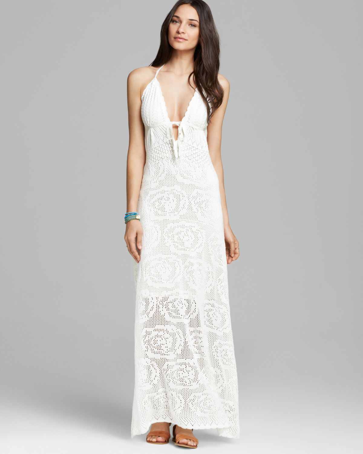 Guess Maxi Dress Lace Crochet In White Lyst