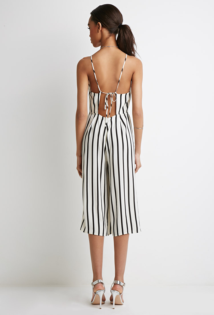 4ff9c82b79cc Forever 21 Strappy-back Striped Jumpsuit in Natural - Lyst