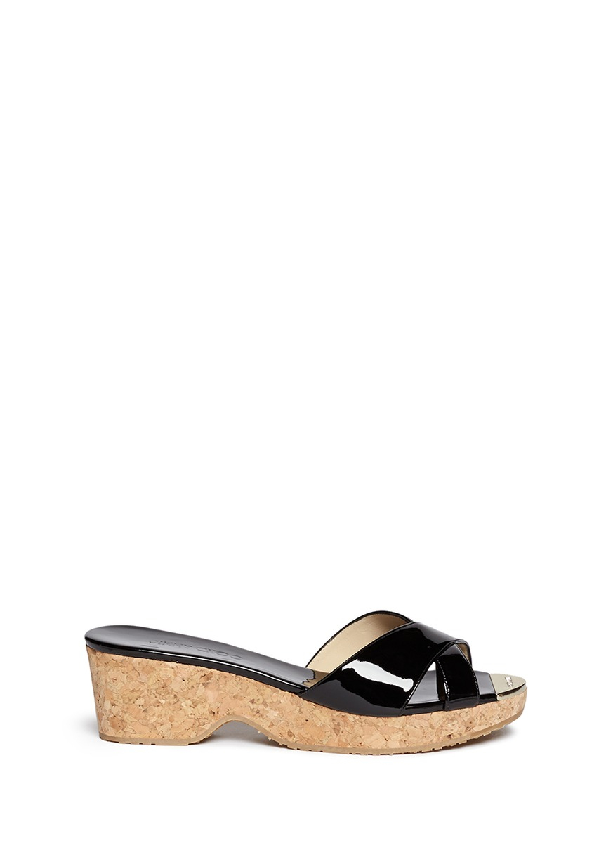 4a24c875de0ab Lyst - Jimmy Choo  panna  Cork Wedge Patent Leather Sandals in Black