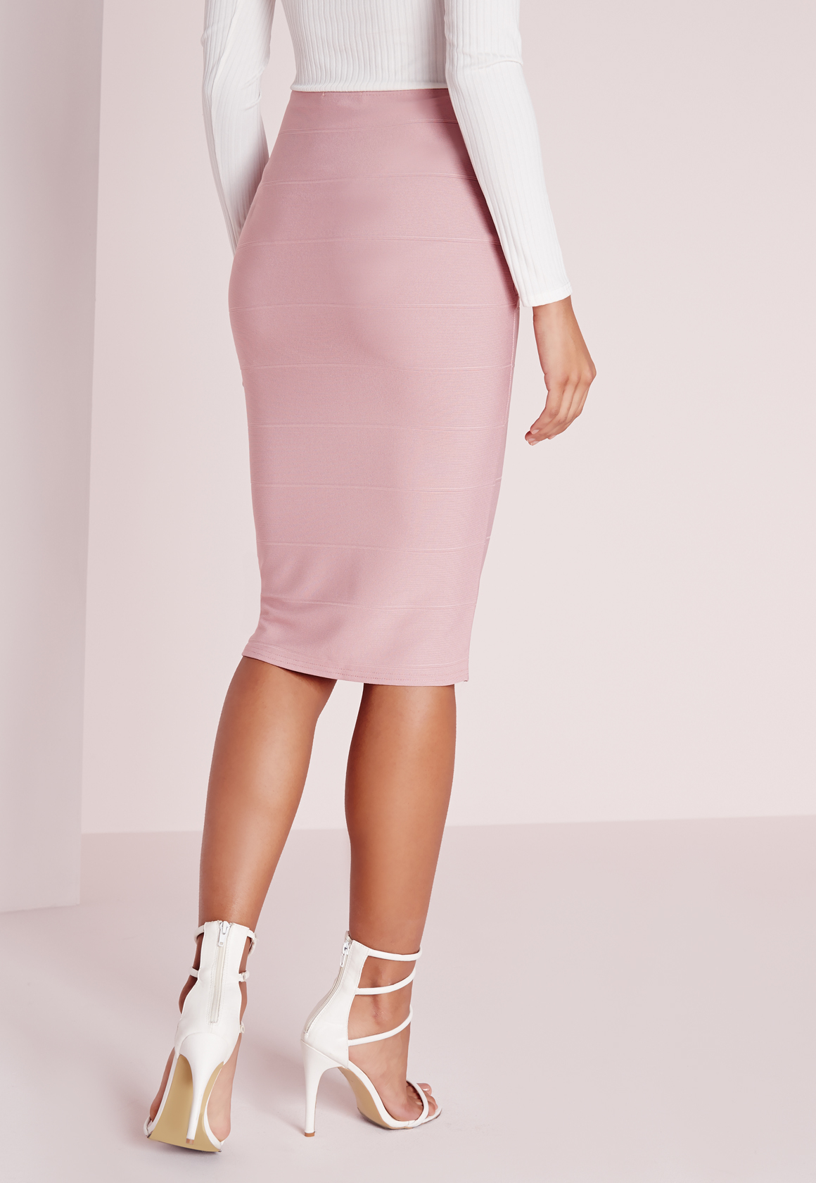 Missguided Wrap Waist Bandage Midi Skirt Mauve in Purple | Lyst