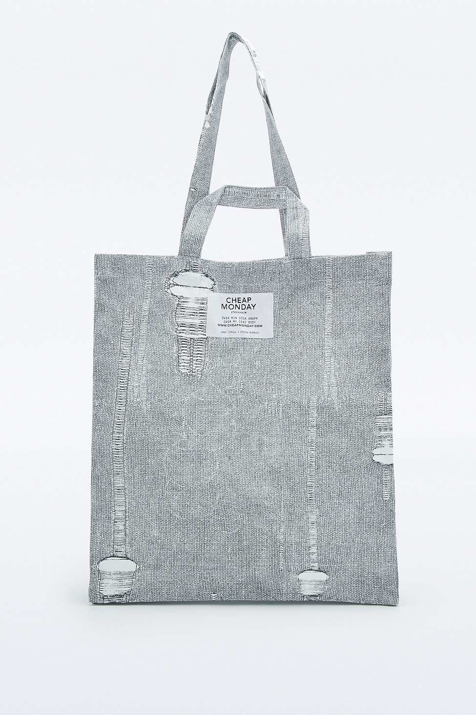 6ae5a75ce0 Cheap Monday Distressed 2 Handle Tote Bag in Gray - Lyst