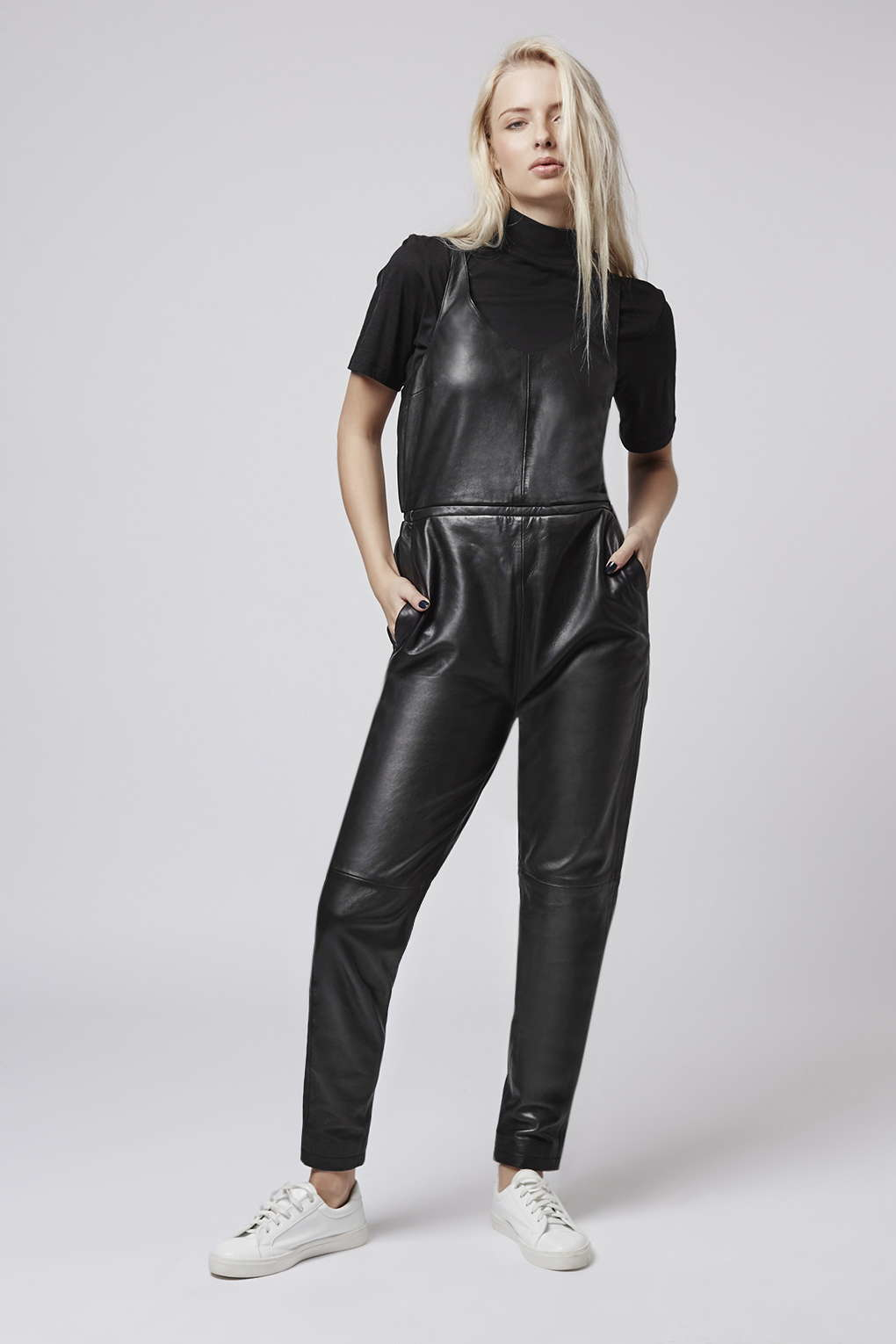 Topshop Leather Jumpsuit in Black | Lyst