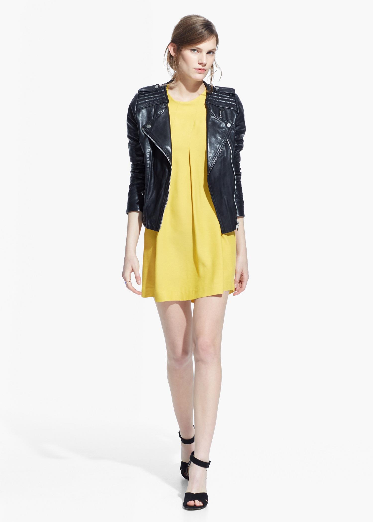 mango decorative pleat dress in yellow lyst