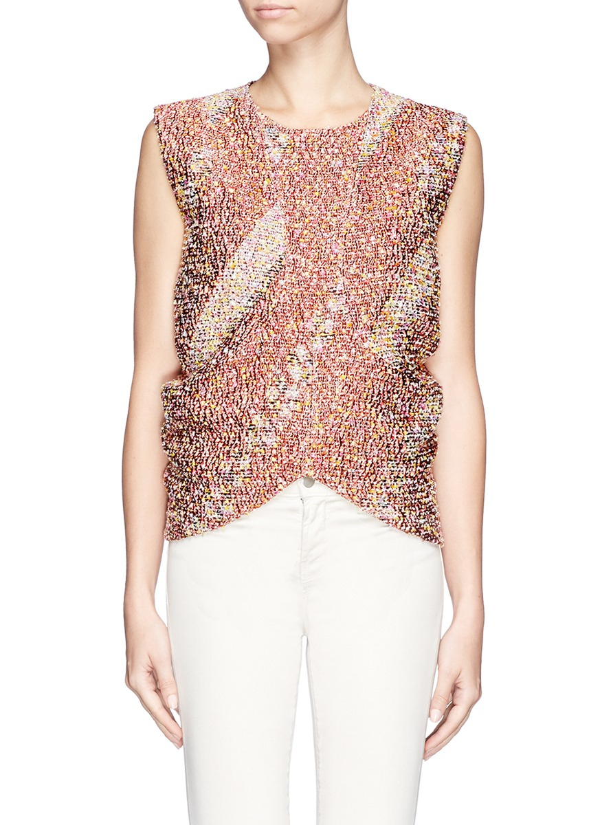 lyst jil sander arch front boucl jacquard blouse in pink. Black Bedroom Furniture Sets. Home Design Ideas