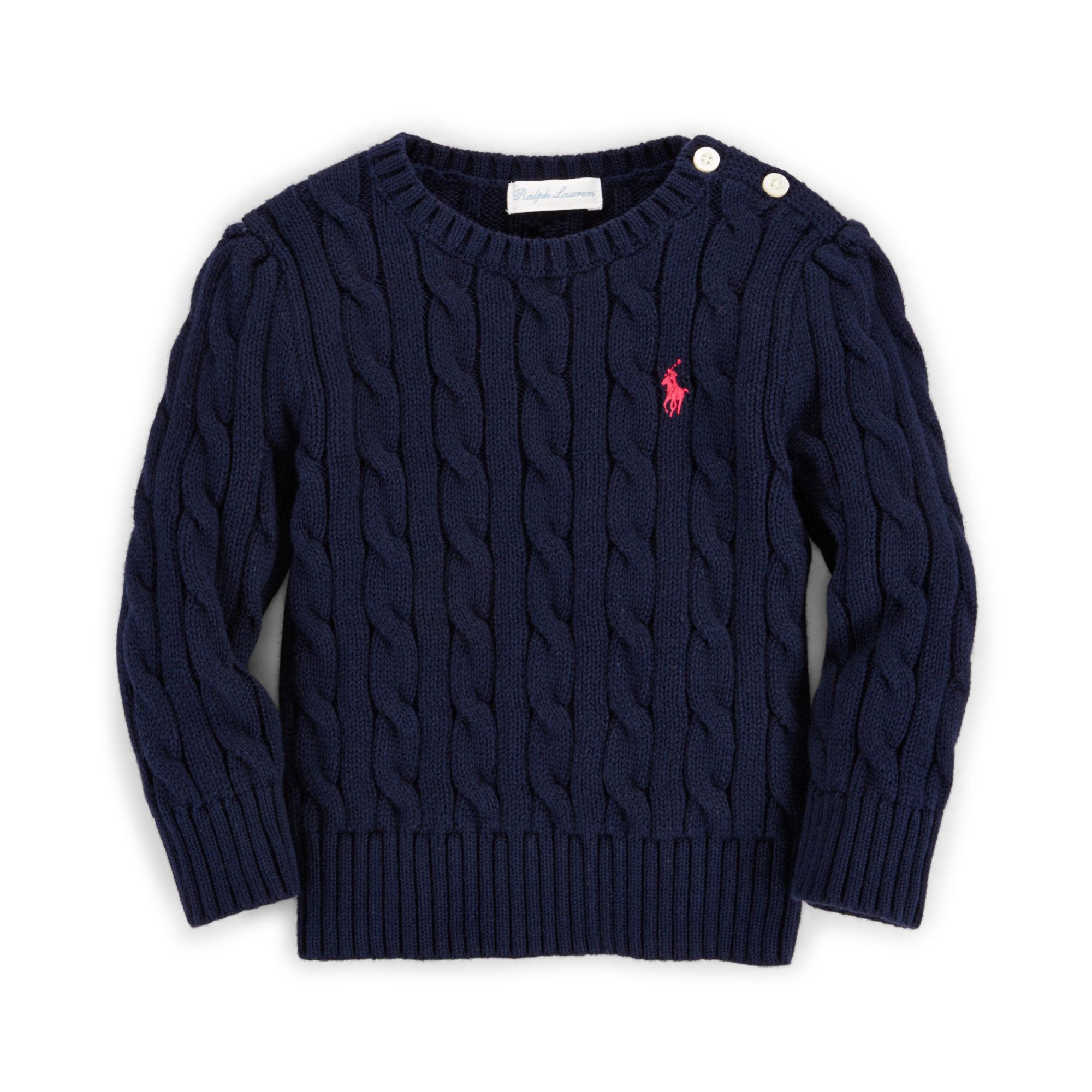 c1a481d23 Ralph Lauren Cable-knit Cotton Sweater in Blue - Lyst