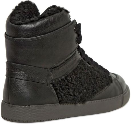 see by chlo leather shearling high top sneakers in black for men lyst. Black Bedroom Furniture Sets. Home Design Ideas