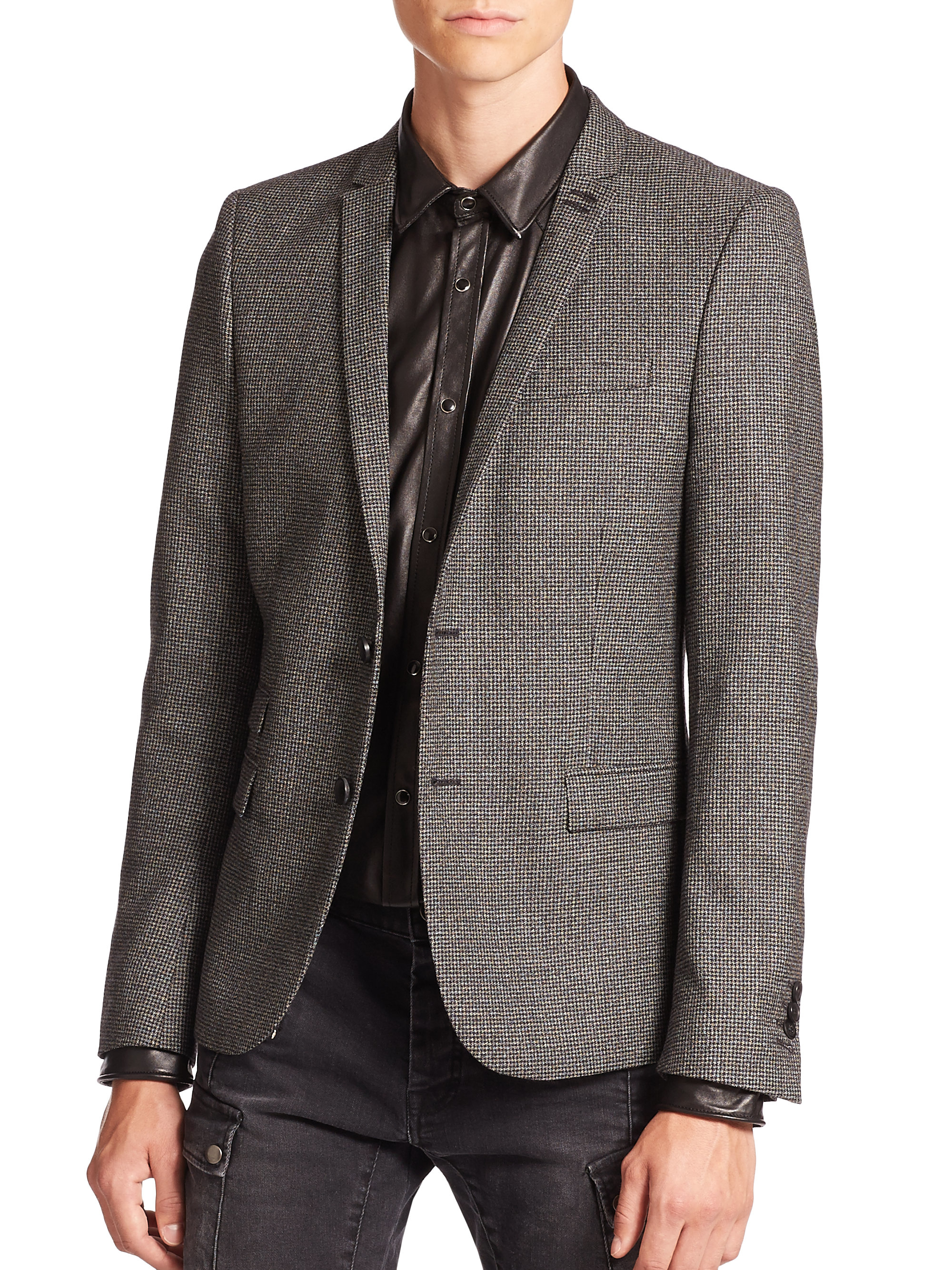 Lyst Kooples For In Wool Men The Houndstooth Gray Jacket r4wrx