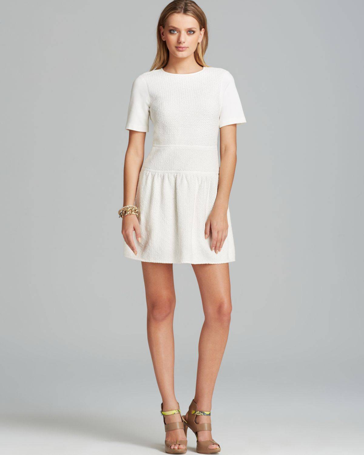 Tibi Dress Crochet Short Sleeve Flirty in White | Lyst