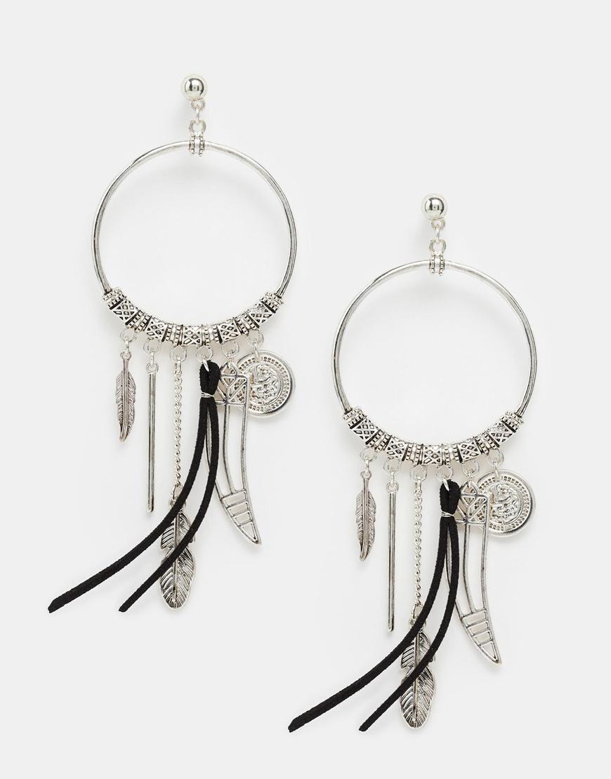 Asos Charm Drop Earrings in Metallic