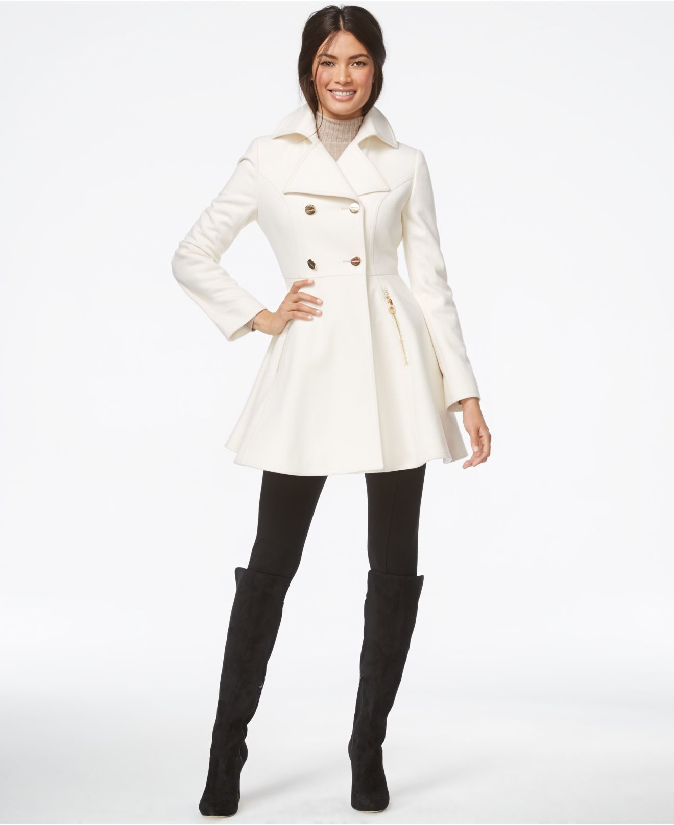 White dress coat - Shinecloth Red White Wool Dress Coats Women Double Ted