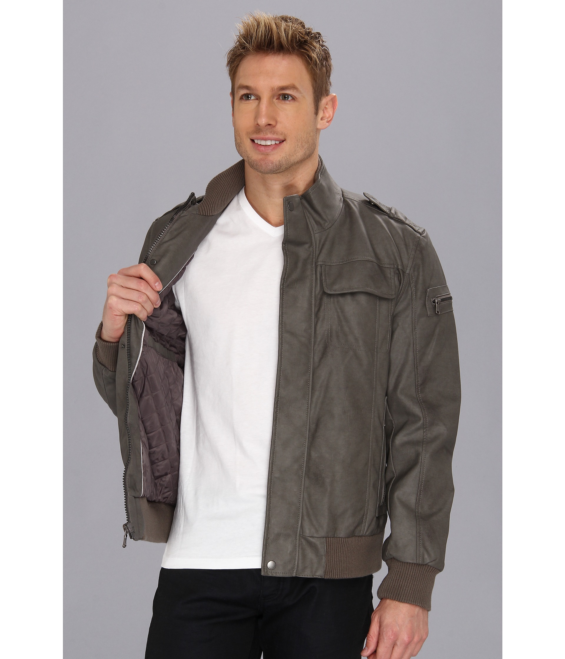 Calvin klein Faux Leather Bomber Jacket in Gray for Men | Lyst