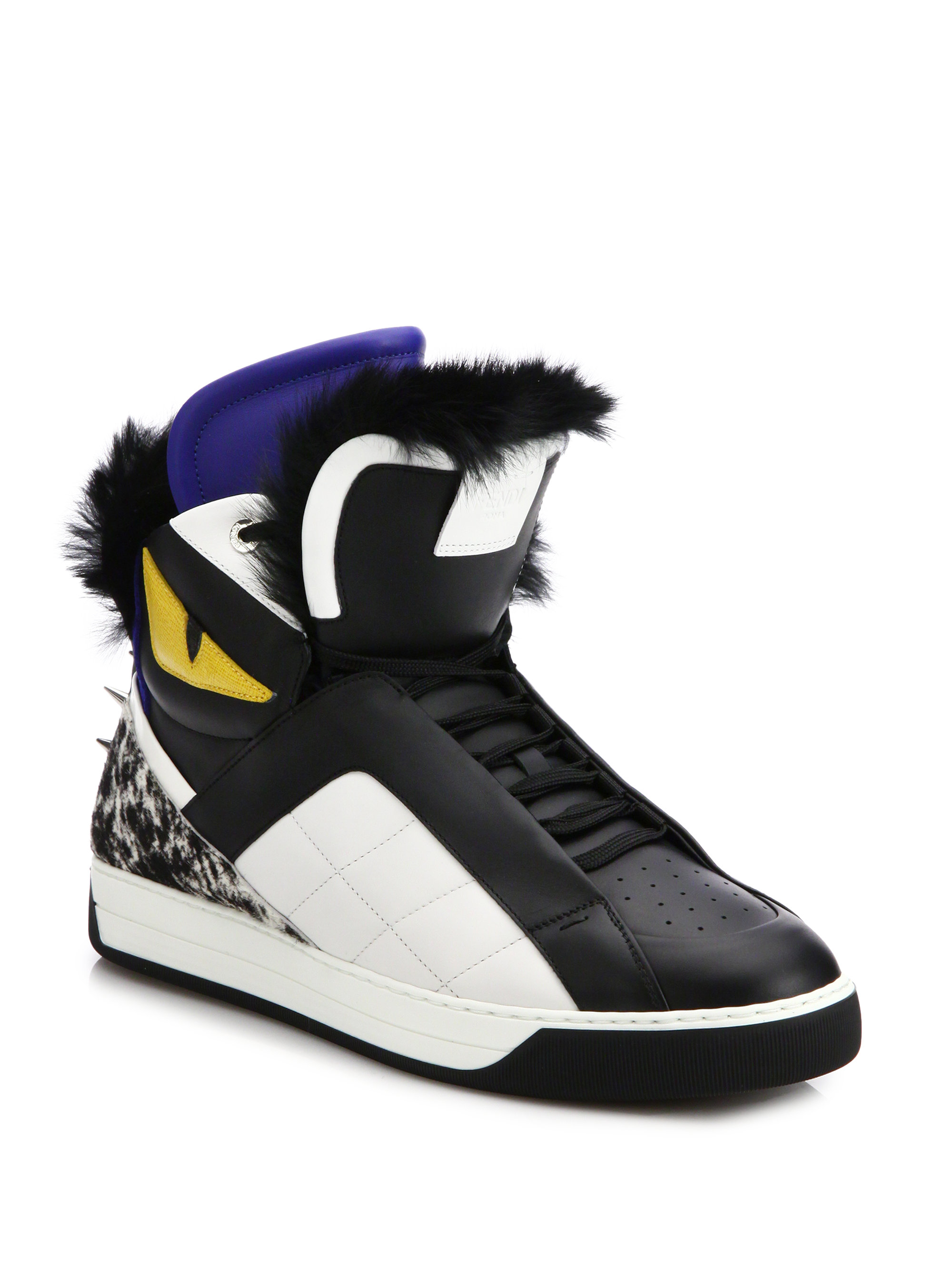9e0468873 Fendi Monster Fur-Trimmed Leather High-Top Sneakers in Black for Men | Lyst