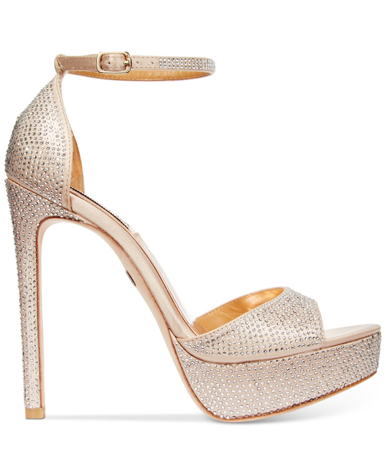 Badgley mischka Retro Ii Evening Sandals in Natural | Lyst