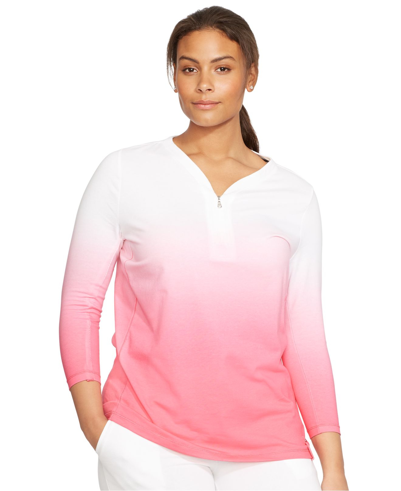 Lauren by ralph lauren Plus Size Ombré Half-Zip Shirt in Pink | Lyst