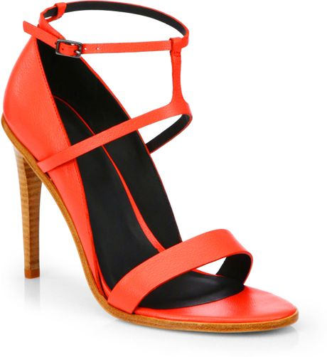 Tibi Anouk Leather Highheel Sandals in Red (MANDARIN RED)