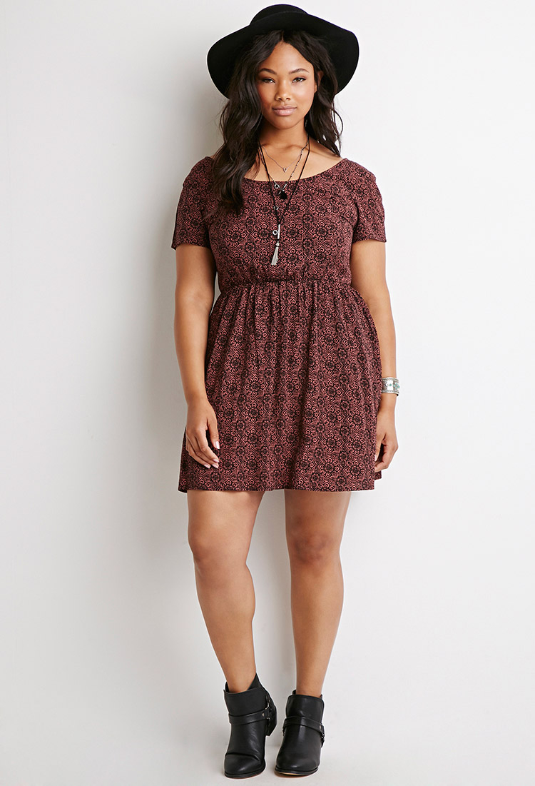 Lyst - Forever 21 Plus Size Floral Print Babydoll Dress in Purple