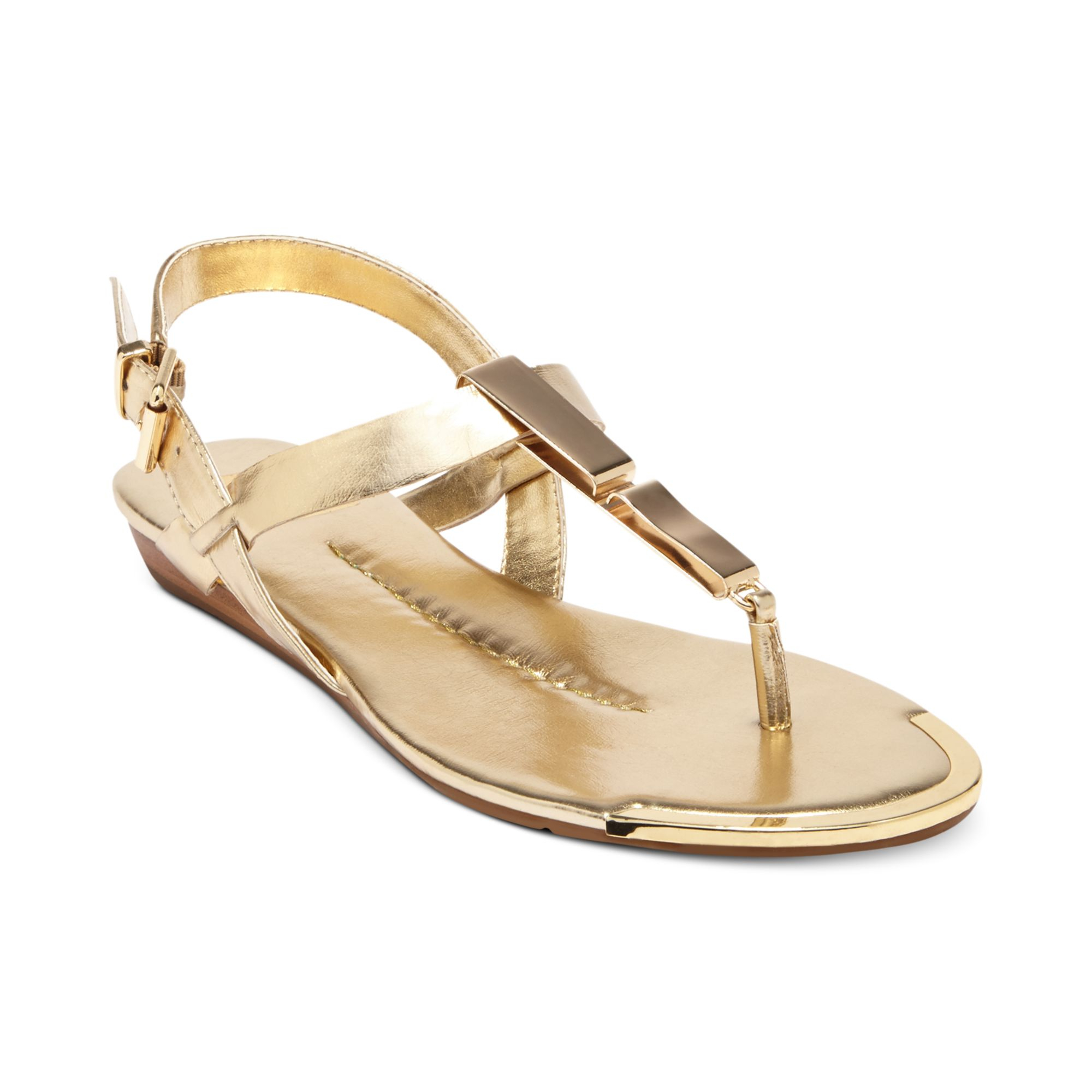 Dolce Vita Dv By Abley Flat Thong Sandals in Gold | Lyst