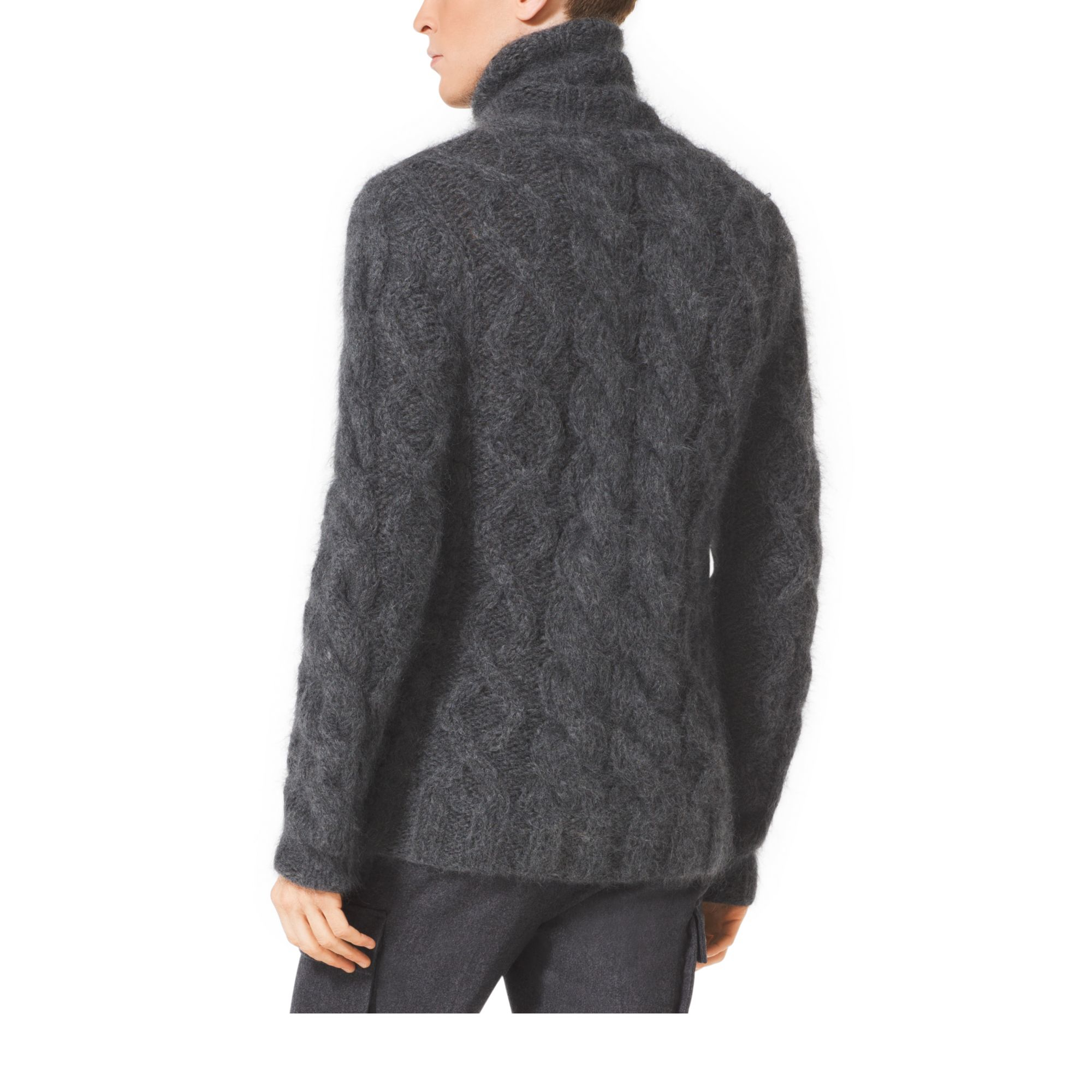michael kors cable knit mohair sweater in gray for men lyst. Black Bedroom Furniture Sets. Home Design Ideas