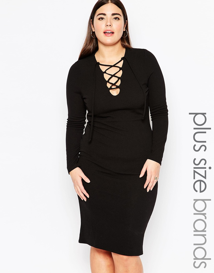 2331cbb997 Club L Plus Size Midi Bodycon Dress With Lace Up Front in Black - Lyst