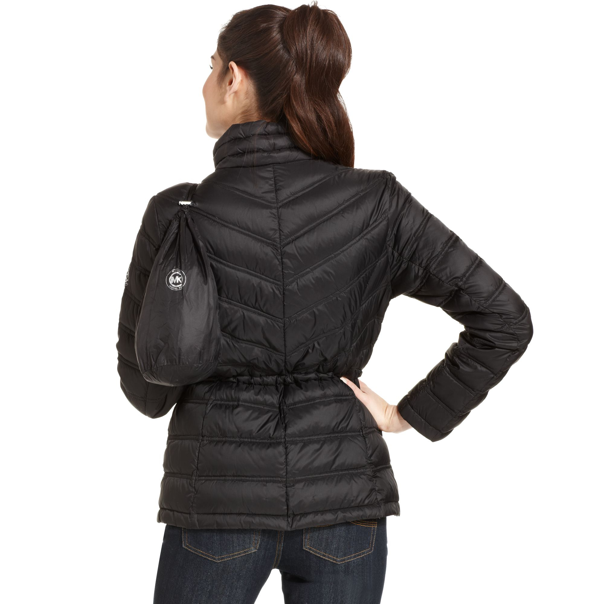 Michael Kors Michael Packable Quilted Puffer Coat In Black