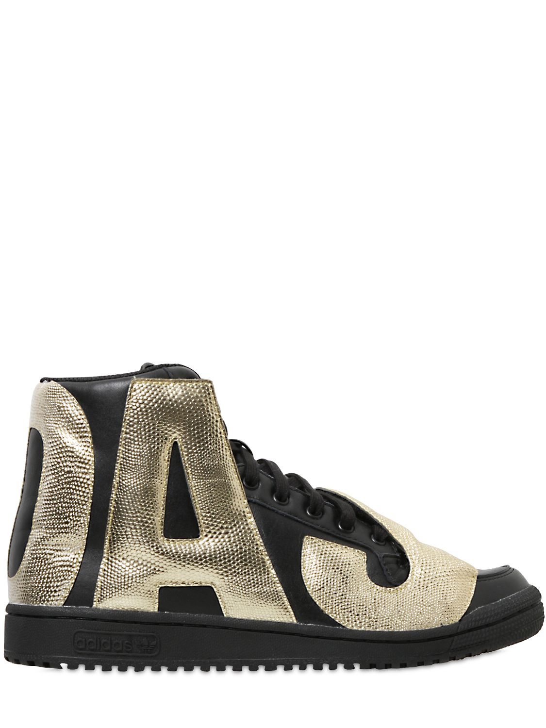 cd5ef3f5450a Lyst - Jeremy Scott for adidas Gold Letters   Leather High Top ...