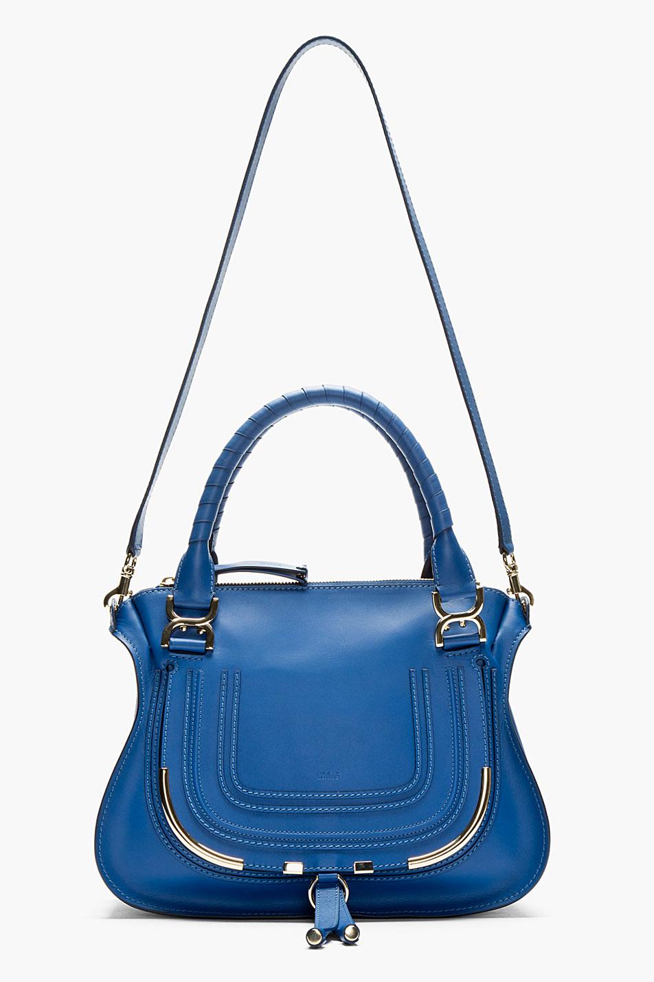 Chlo¨¦ Navy Leather Metal-trimmed Marcie Medium Shoulder Bag in ...
