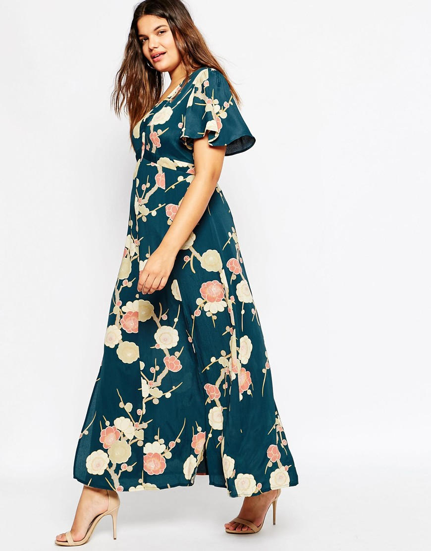 Asos curve wedding maxi dress in blossom floral print in for Floral print dresses for weddings
