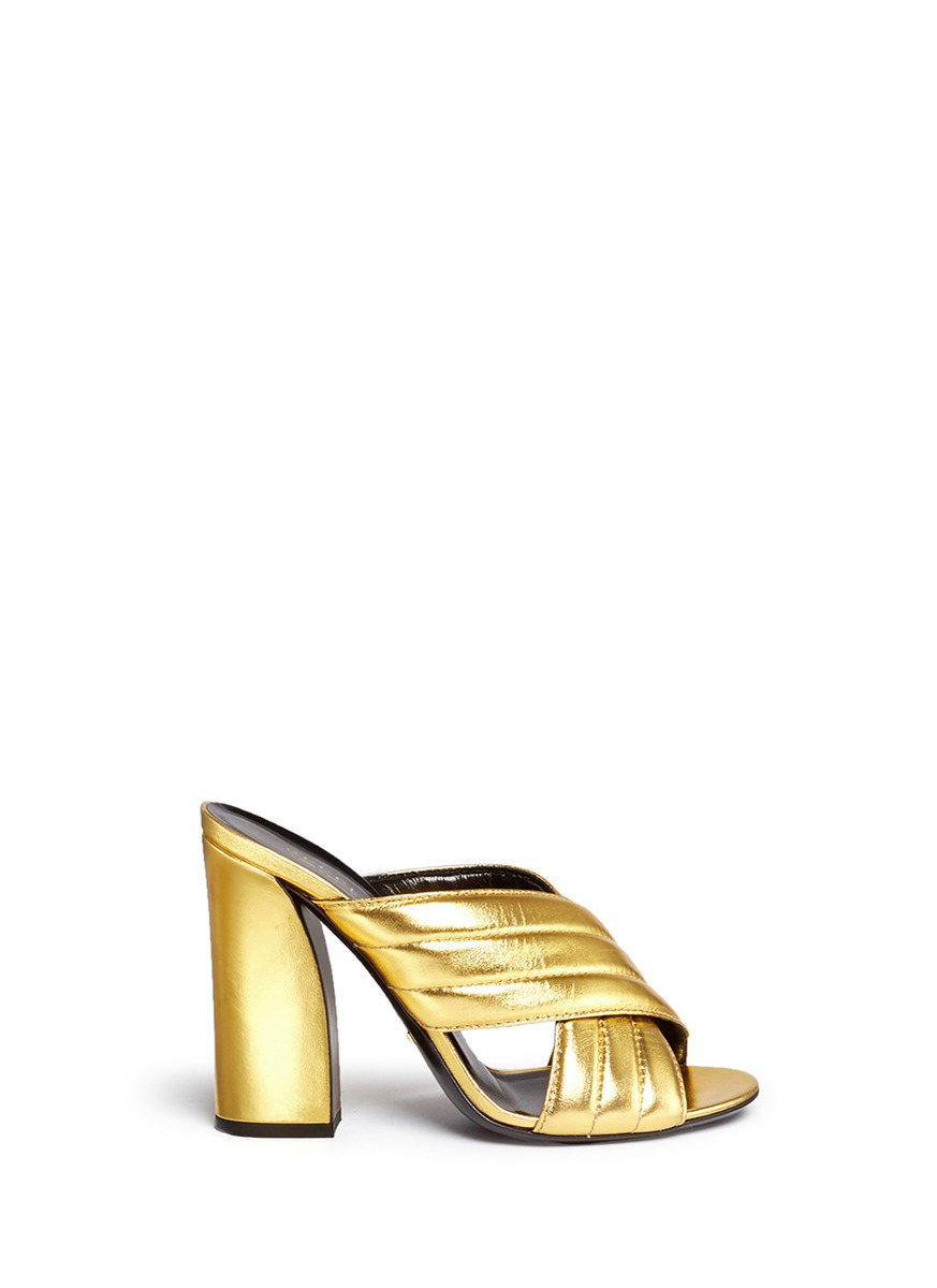 1bc45b618a8 Lyst - Gucci  webby  Ribbed Crisscross Metallic Leather Mule Sandals ...