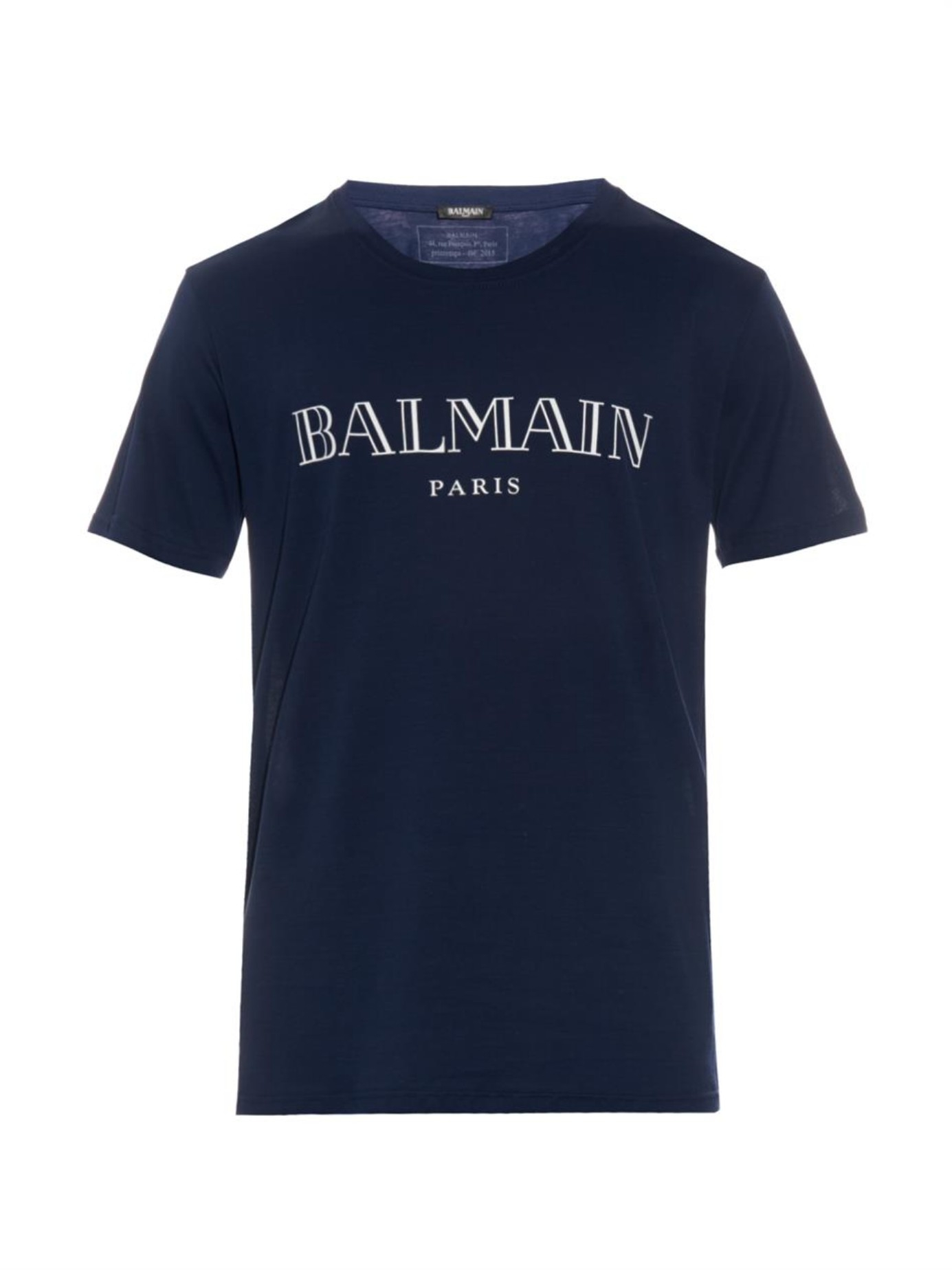 Balmain logo print cotton jersey t shirt in blue for men for Tee shirt logo printing