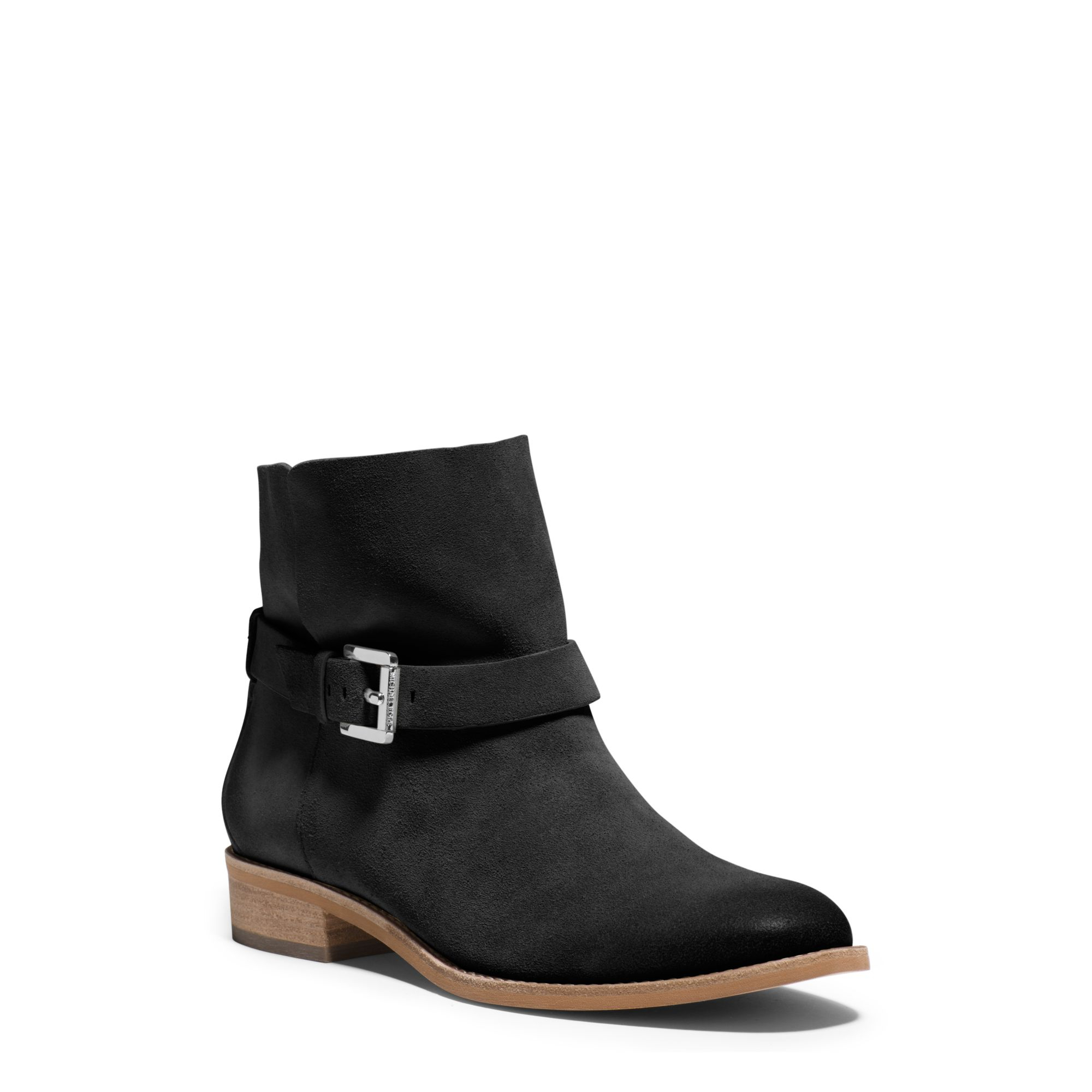 michael kors walton suede ankle boot in black lyst