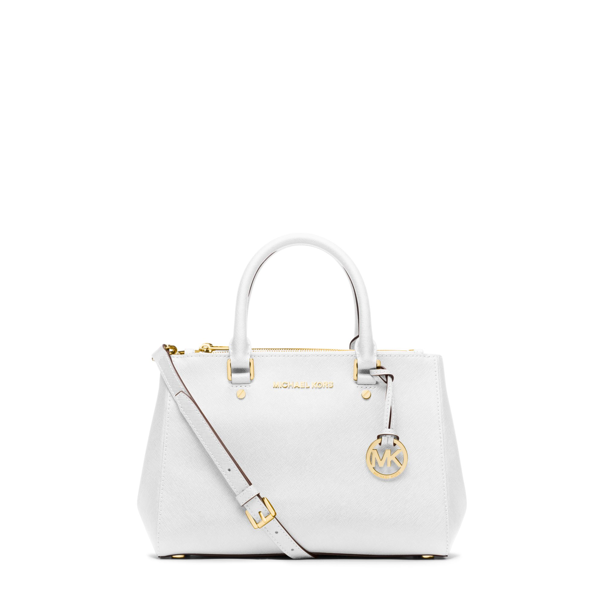 983659a10294 Lyst - Michael Kors Sutton Small Saffiano Leather Satchel in White