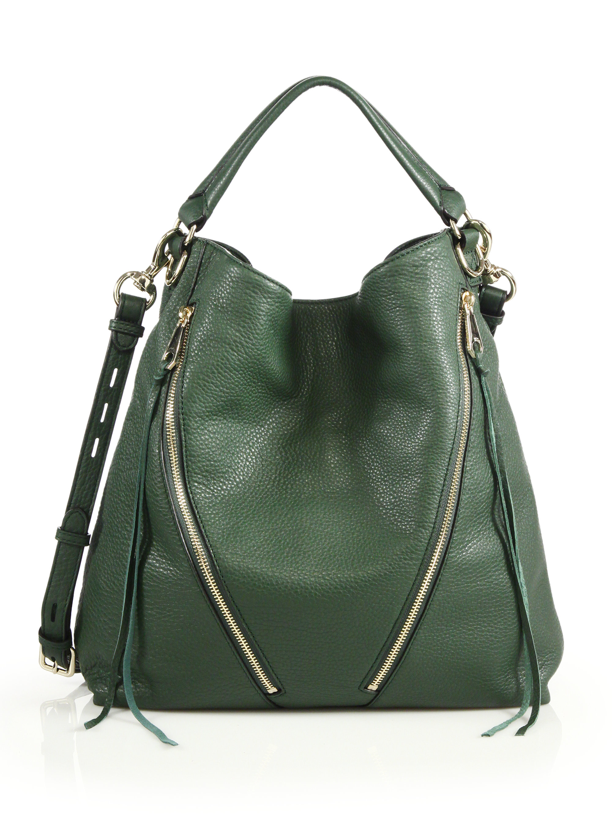 Rebecca minkoff Moto Leather Hobo Bag in Green | Lyst