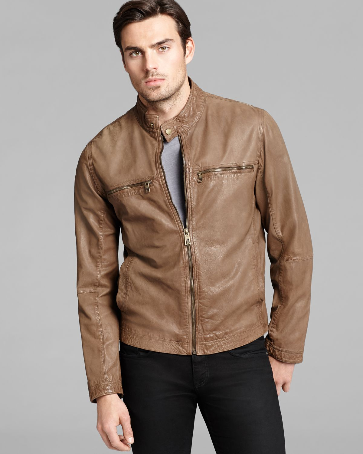Cole haan Vintage Leather Moto Jacket in Brown for Men | Lyst