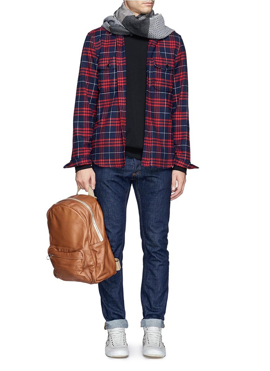 meilleur ami paris 39 sacados 39 washed leather pocket backpack in natural for men lyst. Black Bedroom Furniture Sets. Home Design Ideas