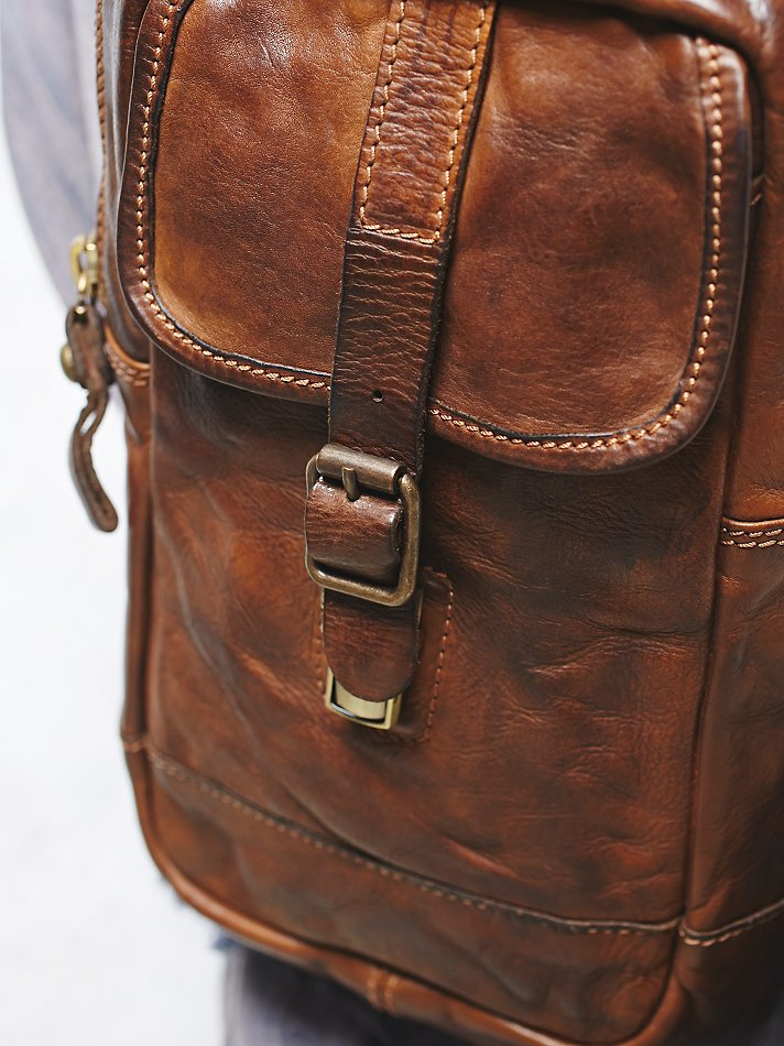 Free People Campomaggi Womens Positano Distressed Backpack