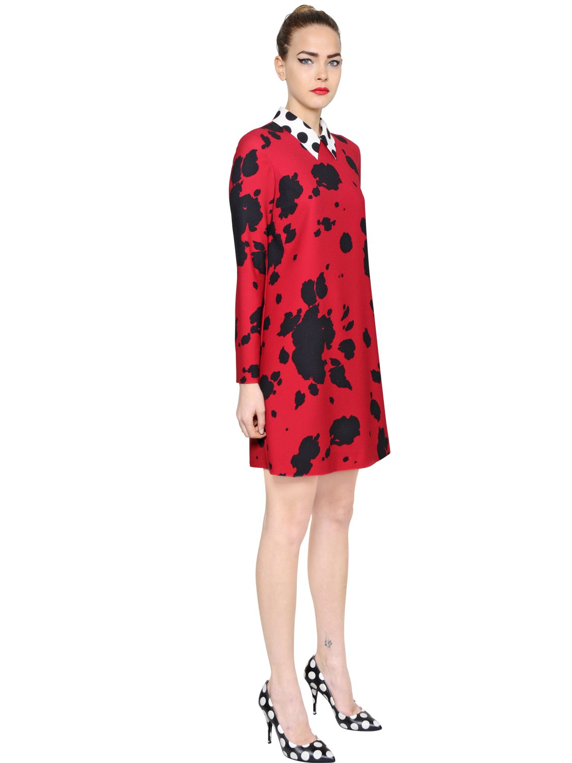 Boutique Moschino Cow Printed Stretch Techno Dress In Red Lyst