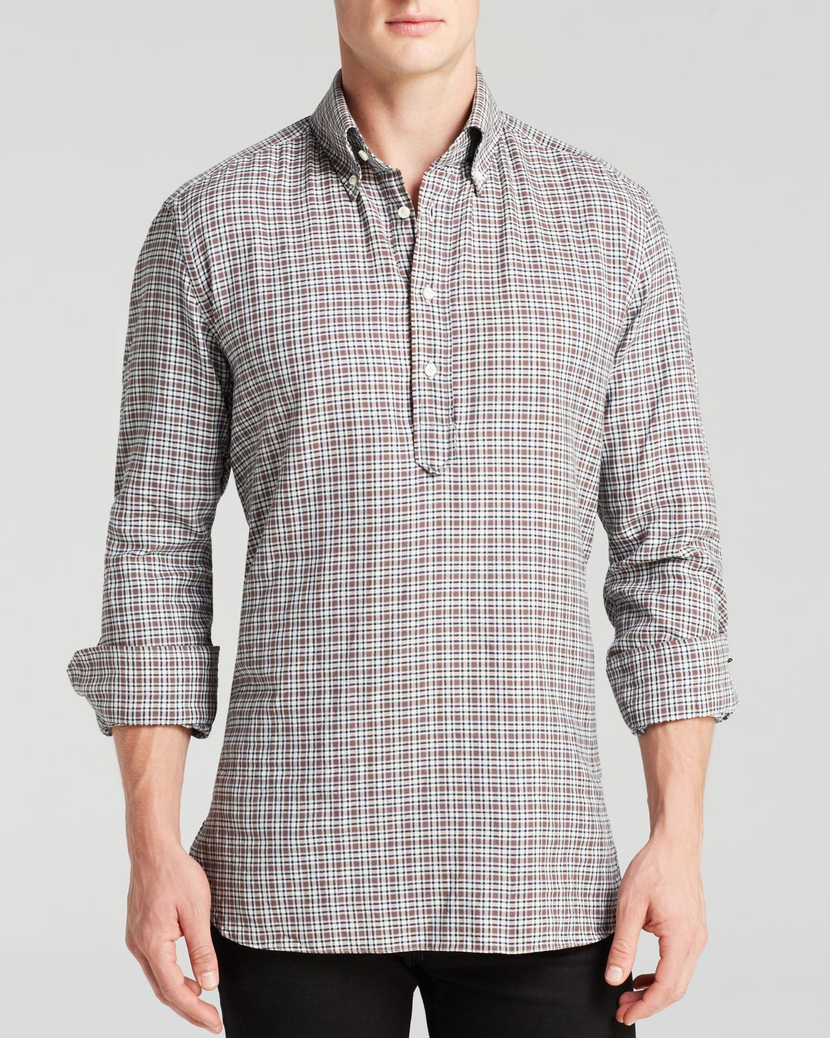 Eidos Micro Tattersall Half-Button Button Down Shirt ...
