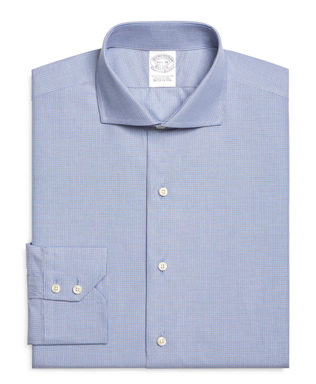 Brooks Brothers Regular Fit Mini Check Dress Shirt In Blue