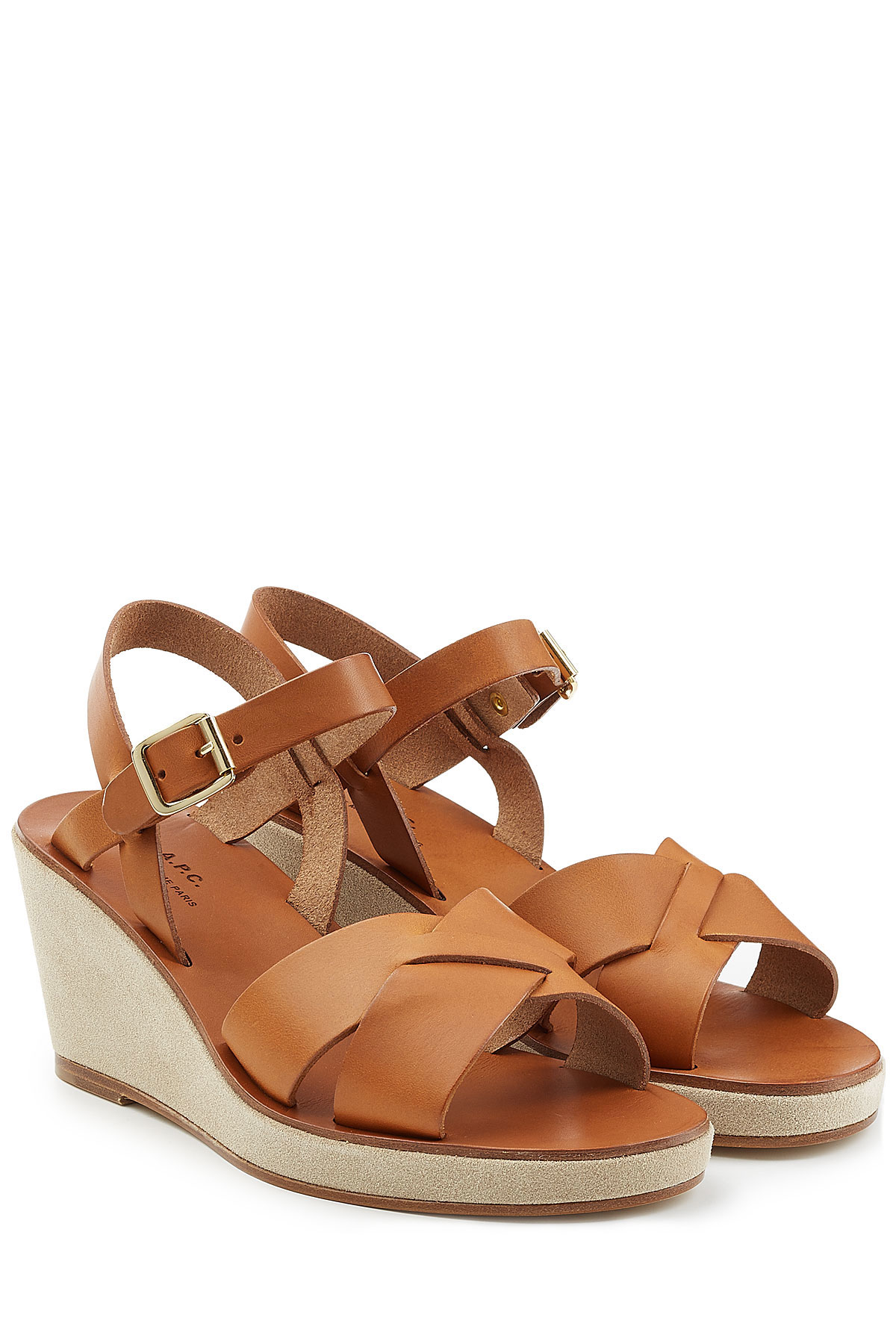 8ec01791f3ed Lyst - A.P.C. Leather Wedge Sandals - Brown in Brown