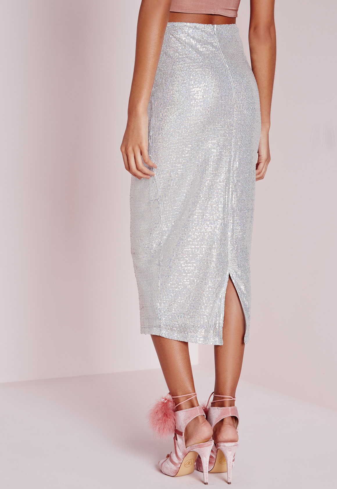 missguided sequin longline midi skirt silver in metallic