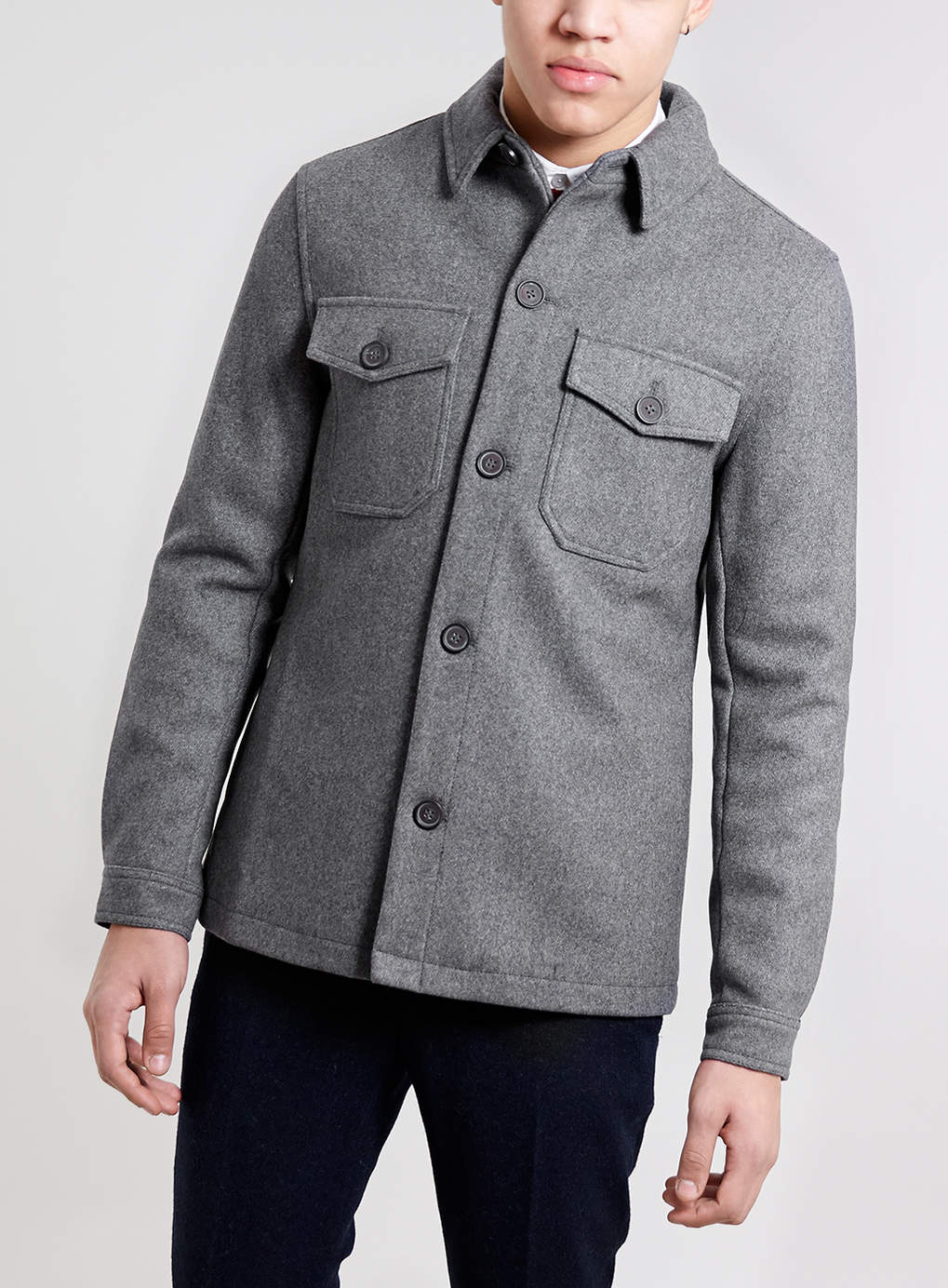 Topman Grey Wool Blend Shacket In Gray For Men Grey Lyst