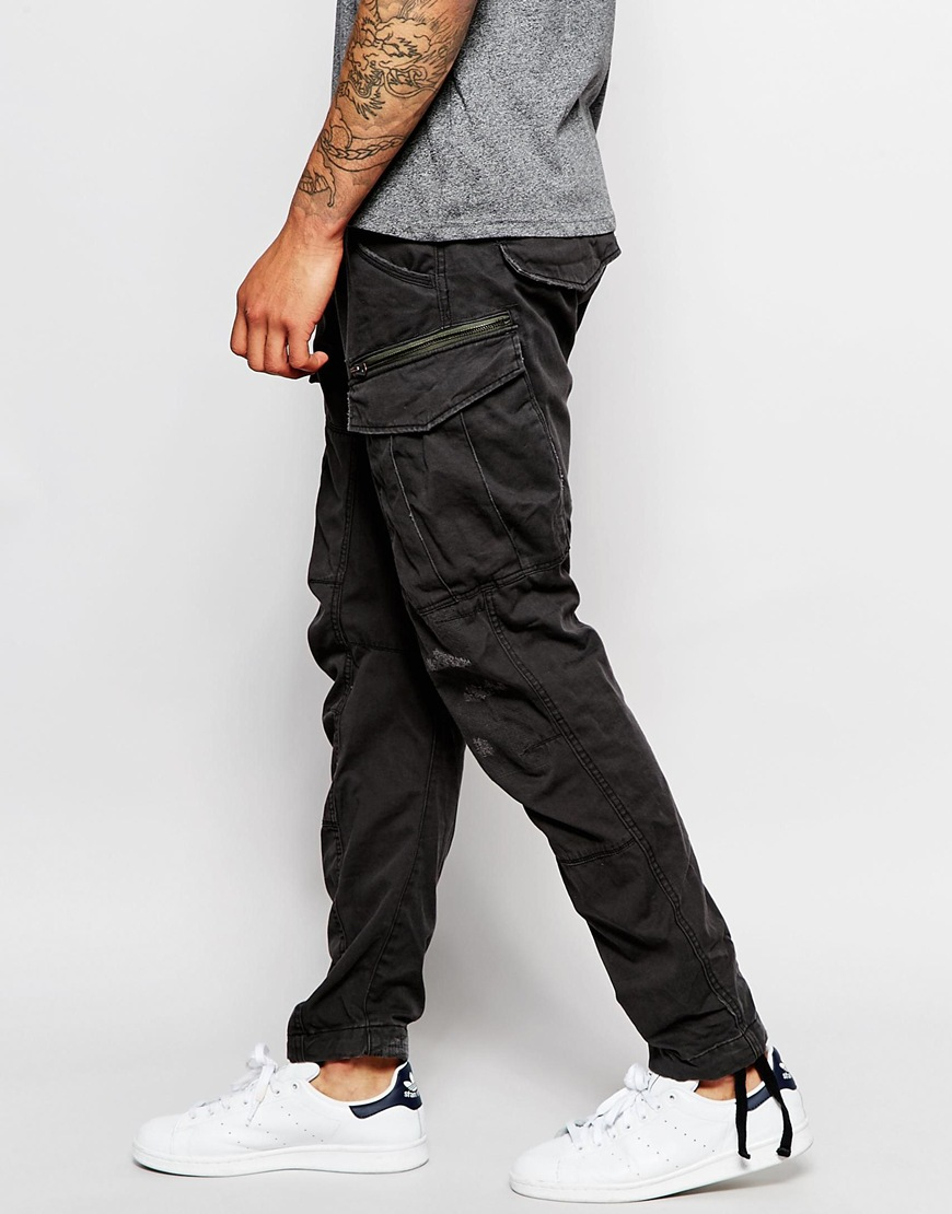 1a9509faad4ff G-Star Raw Cargo Pants Rovic Zip Art 3d Tapered Fit Restored in Gray ...