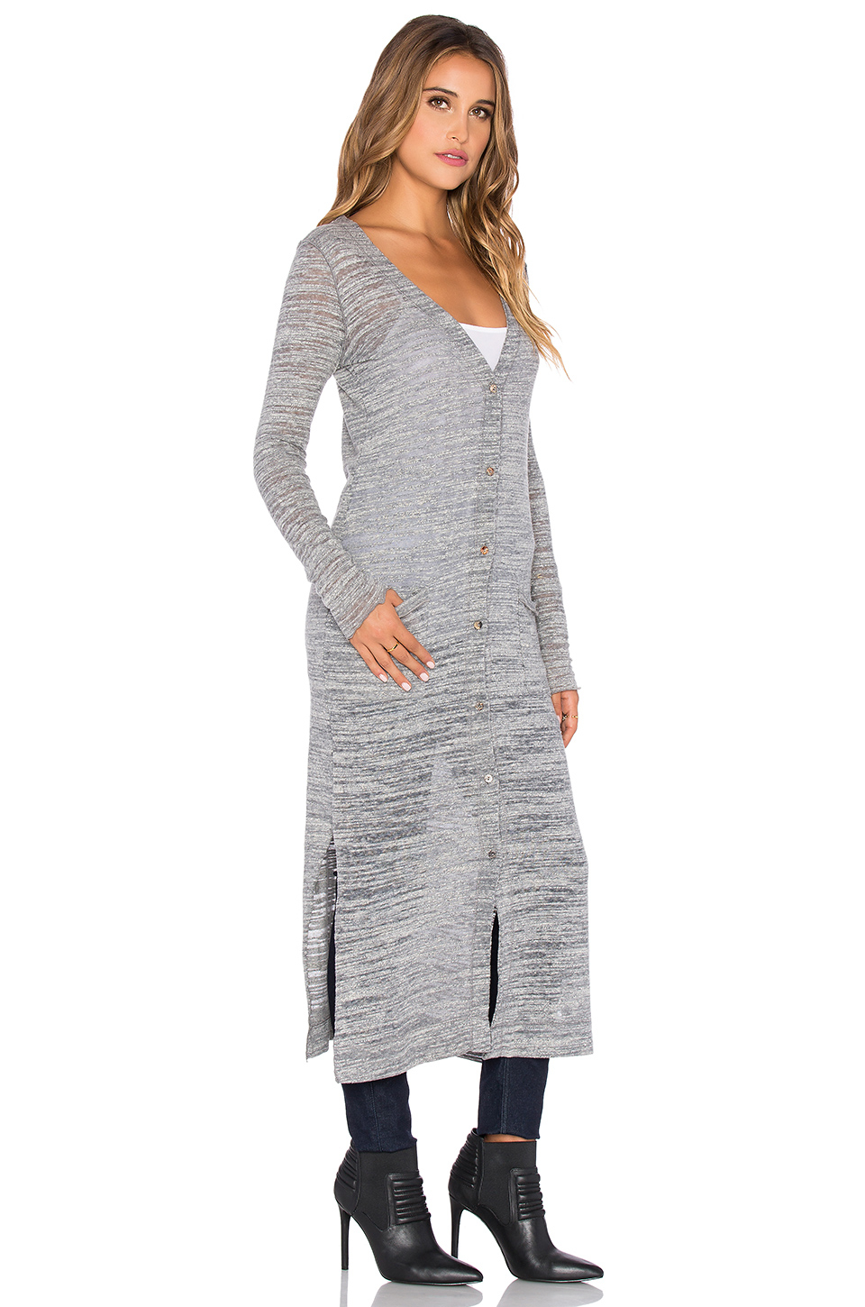Lamade Cozy Slub Veneto Extra Long Cardigan in Gray | Lyst